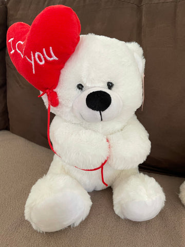 White Bear with I Love You Balloon (30cm)
