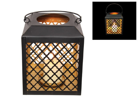 Black/Gold Square Lantern (17cm)