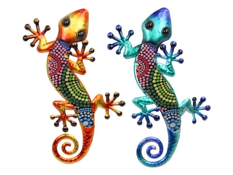 Wall Art Tribal Dot Lizard Metal/Glass (38cm)