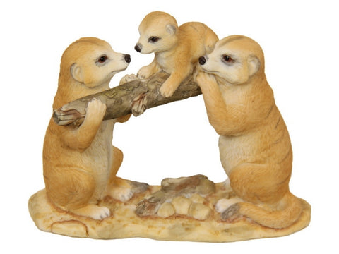 Meerkat Family with Baby on Log (14cm)