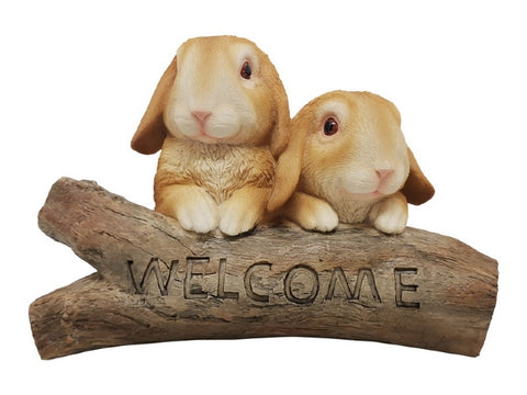 Twin Rabbits on Welcome Log