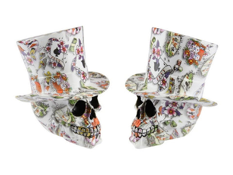 Skull with Top Hat Designer White (20cm)
