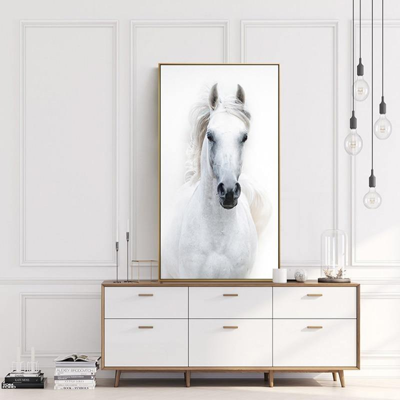White Horse Canvas Wall Art - Glamorous Hangups