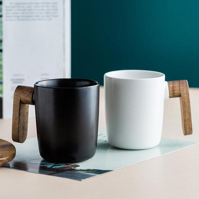 Nordic Coffee Mug with Wooden Handle & Lid - Glamorous Hangups Ltd