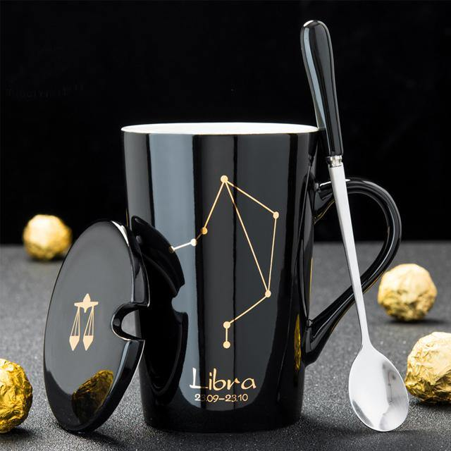 In The Stars Zodiac Coffee Mugs with Spoon & Lid