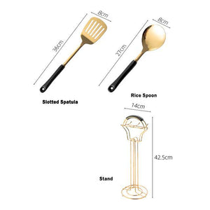Gold Kitchen Utensils with Stand - Glamorous Hangups Ltd