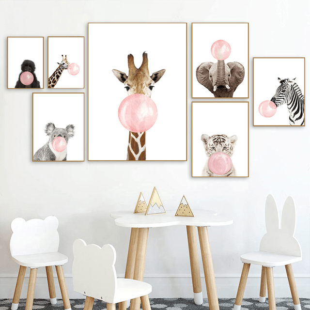 Bubble Gum Baby Animals Nursery Wall Art - Glamorous Hangups Ltd