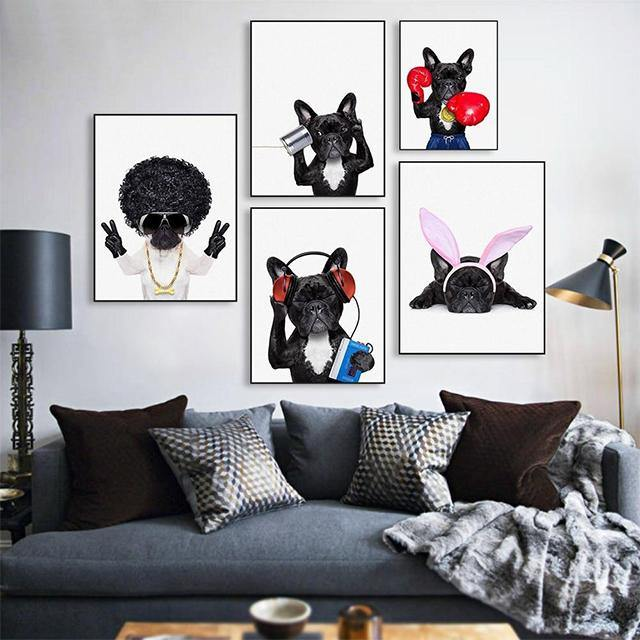 Bulldog Character Canvas Wall Art - Glamorous Hangups Ltd