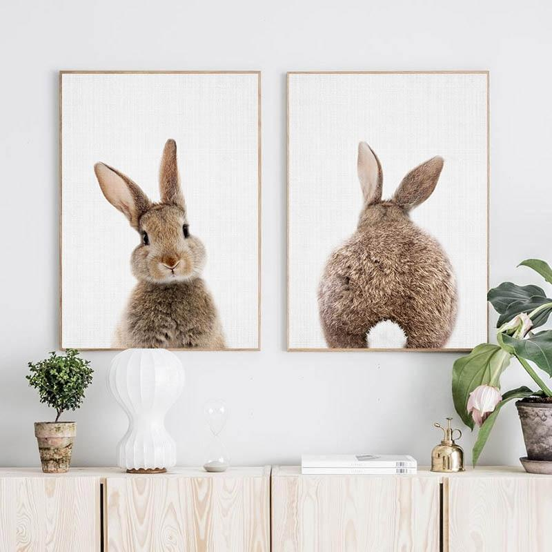 Bunny Rabbit Face & Tail Animal Wall Art - Glamorous Hangups