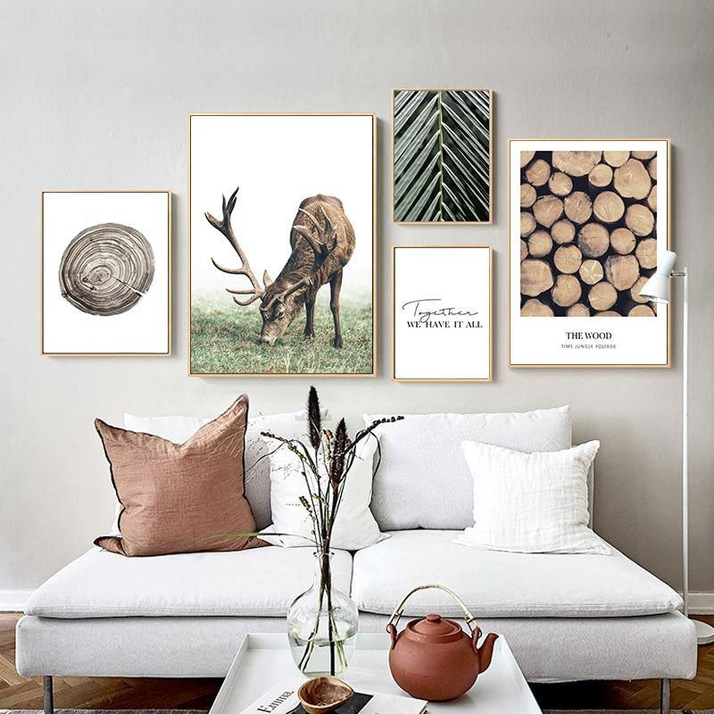 Scandi Deer and Leaf Canvas Wall Art - Glamorous Hangups