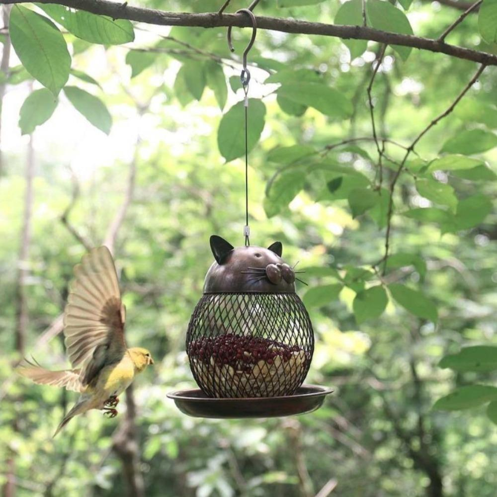 Cat Shaped Outdoor Hanging Bird Feeder - Glamorous Hangups Ltd