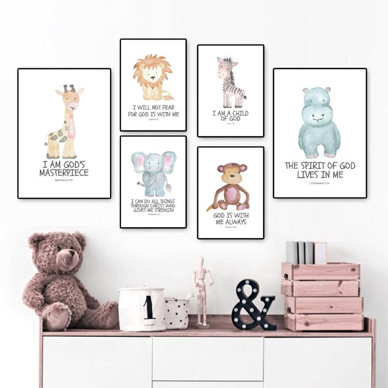 Bible Verse Animal Nursery Wall Art - Glamorous Hangups Ltd