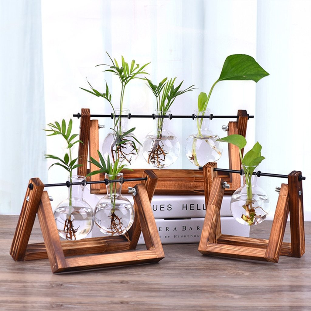 Desktop Hydroponic Planter with Wooden Tray - Glamorous Hangups
