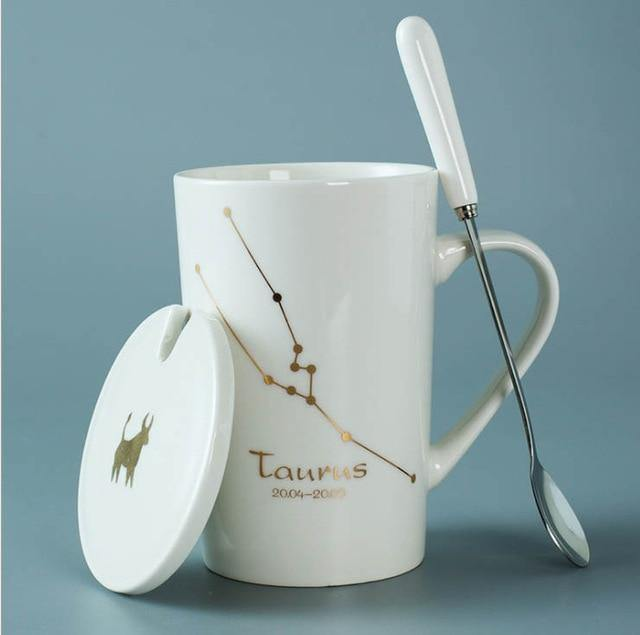 In The Stars Zodiac Coffee Mugs with Spoon & Lid - Glamorous Hangups Ltd