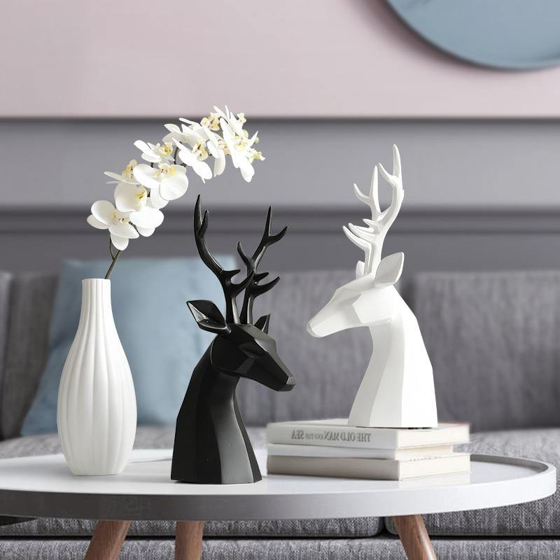 Stag & Vase Resin Table Ornament