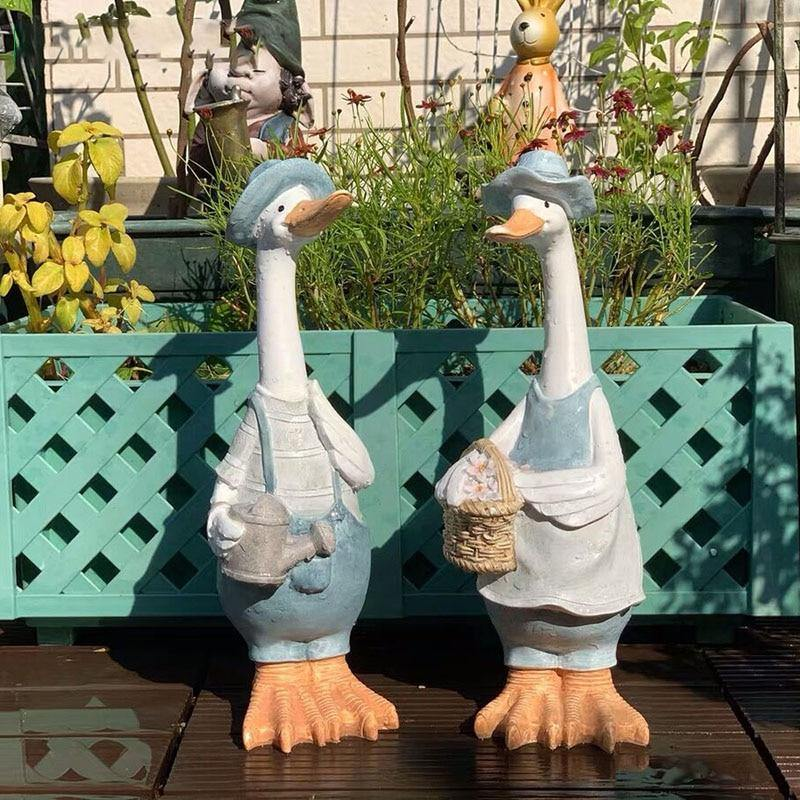 Mr & Mrs Duck Garden Ornaments