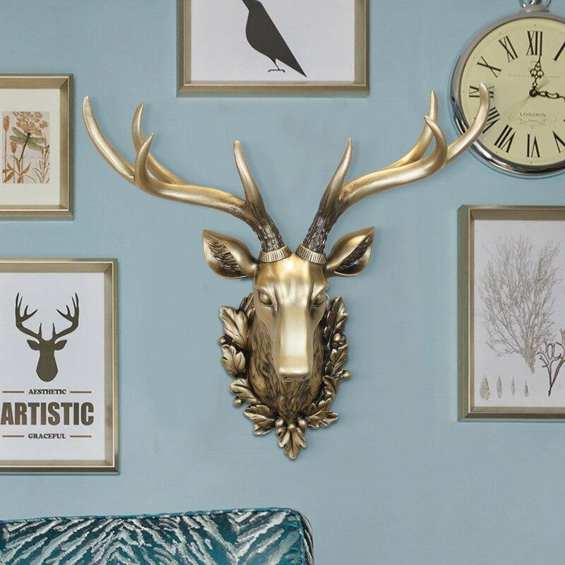 Gold Stag Head Vintage Wall Mount - Glamorous Hangups Ltd
