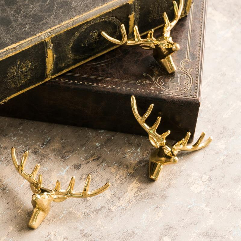 Stag Head Brass Drawer & Door Handle - Glamorous Hangups Ltd