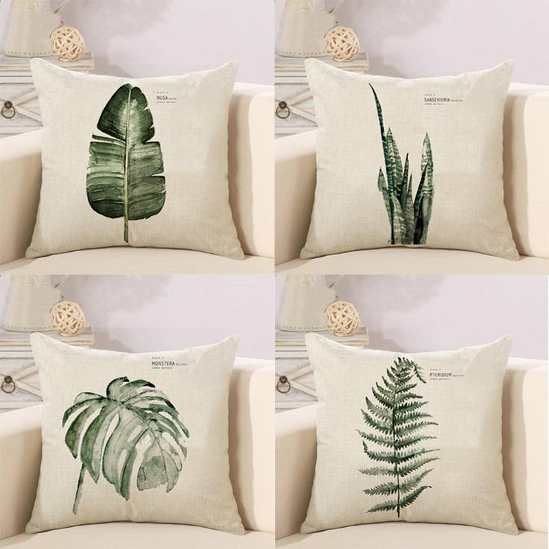 Nordic Leaves Cushion Cover