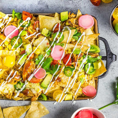 Summer Nachos With Tomatoes, Corn, Chicken, and Cheese