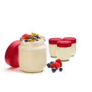 Leak-Proof Glass Jars 4pc / Set Red 5.25""
