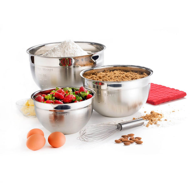 Stainless Steel Mixing Bowl - Set of 3 Silver