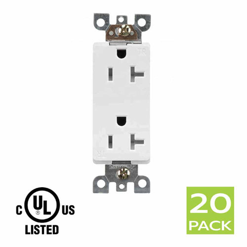 Decora Tamper Resistant Electrical Outlet Receptacle 20A in White