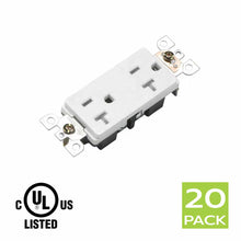 Load image into Gallery viewer, Decora Tamper Resistant Electrical Outlet Receptacle 20A in White