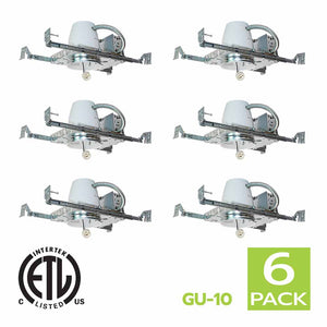 4 Inch New Construction Recessed Light Housing GU10 Socket (6 Pack)