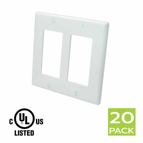 Decora Wall Plate 2 Gang in White