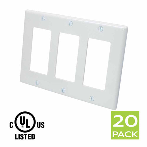 Decora Wall Plate 3 Gang in White