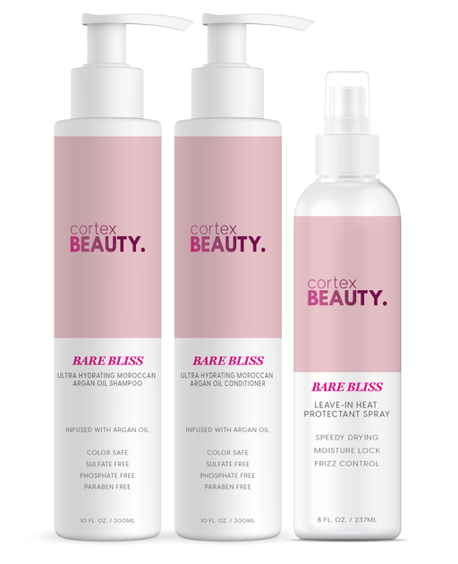Cortex Beauty Bare Bliss Shampoo, Conditioner & Heat Protectant Spray Bundle
