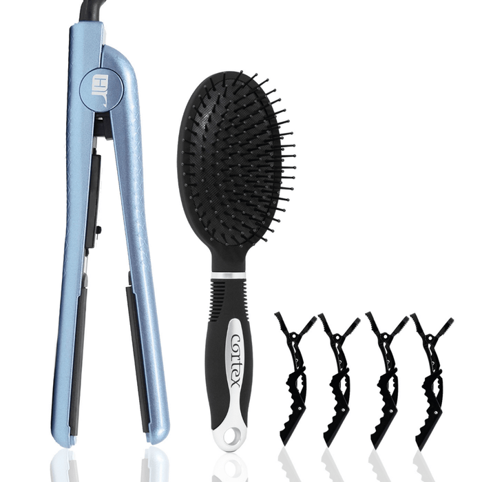 Cortex Beauty Hair Rage Straight Flat Iron Bundle | Includes Paddle Brush & 4 Clips