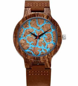 Artistic Blue face Wooden watches