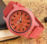 Wooden pink color watches