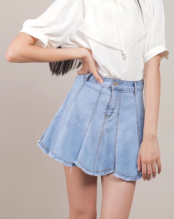 Sweet Heart Denim Mini Skirt (4504287215694)