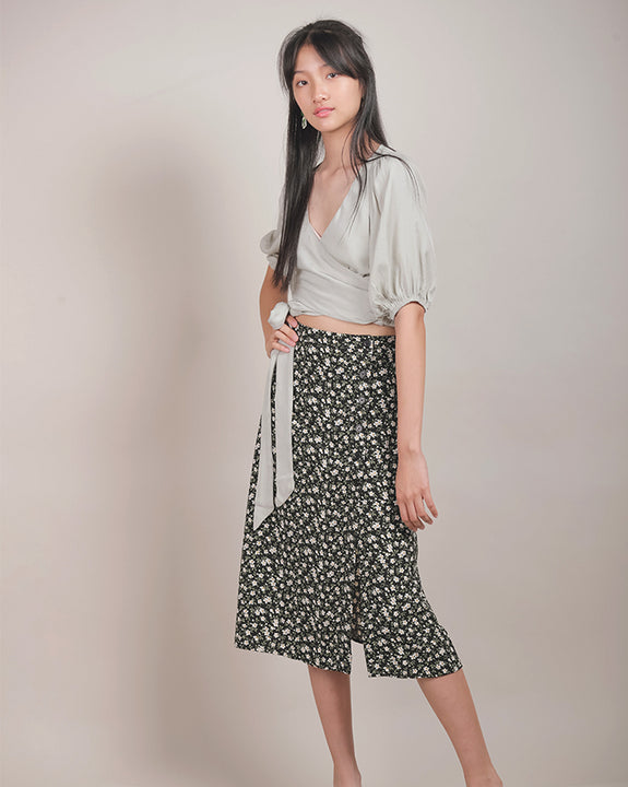 Leala Black Floral Skirt (4504633409614)