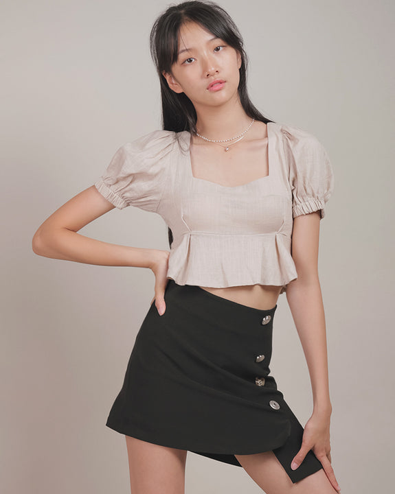 Unbalance Button Mini Skirt (4475679998030)