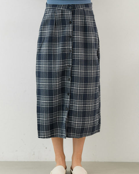 Rachel Button Check Skirt