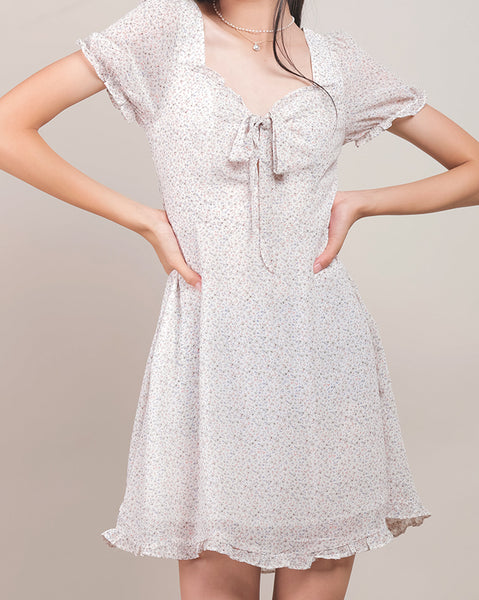 Dori Ribbon White Floral Dress (4492839747662)