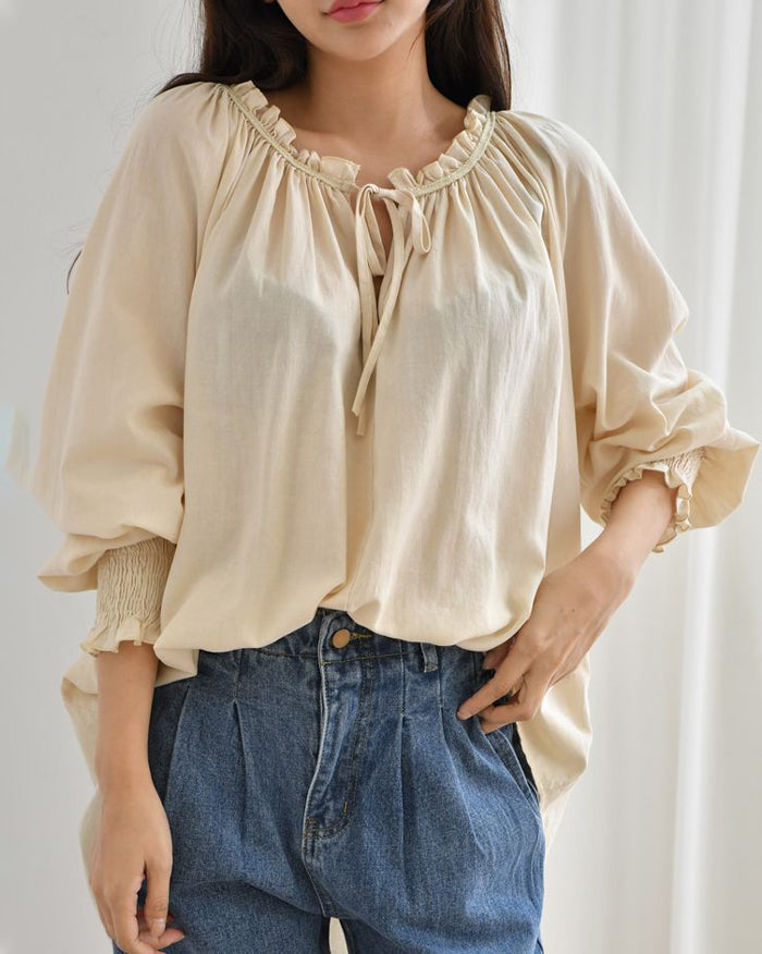 Loli Shirring Blouse (4697634078798)