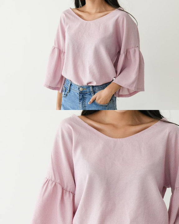 Milkshake Back Point Ribbon Top (4688562782286)