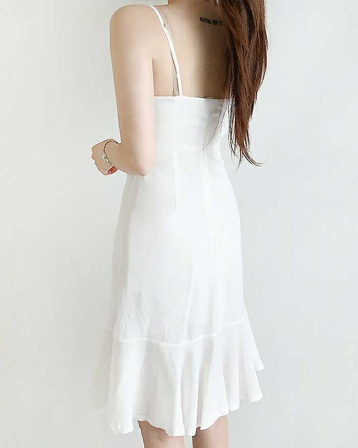 Summer Sleeveness Frill Dress (6086006210732)
