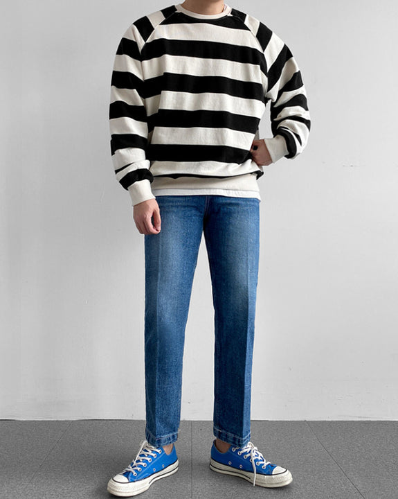 Basic Stripe Raglan Sweatshirt Top (4823914709070)