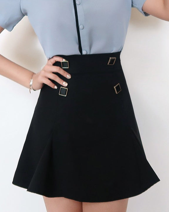 Diana Square Button Mini Skirt Pants (4595487146062)