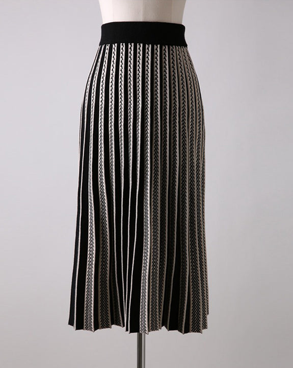 Joy Herringbone Wool Skirt (4672338591822)