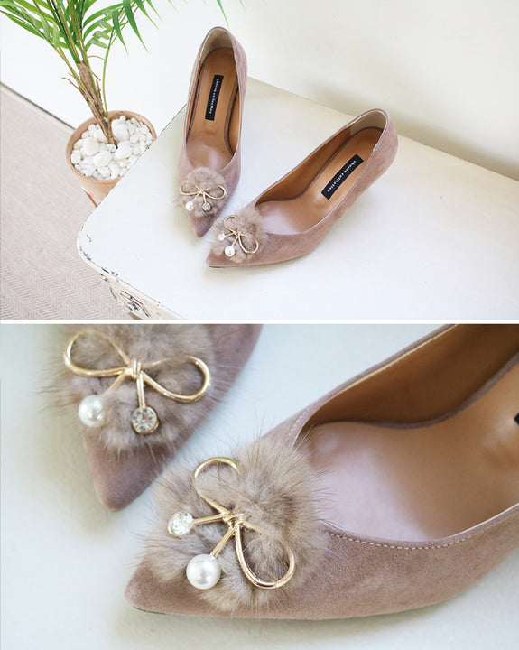 Ribbon Jewel Fur Point Pumps (4720410427470)