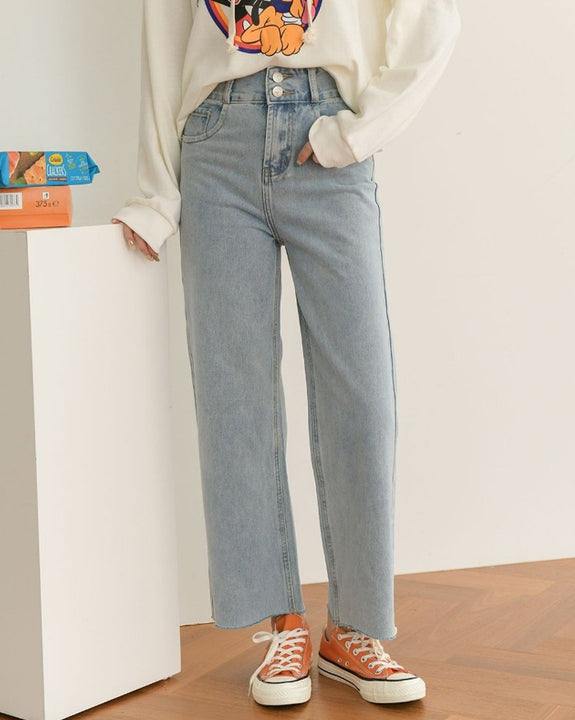 Two Buttons High-waisted Jeans (4865964474446)