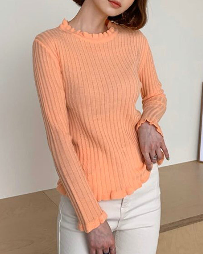 Ribbed Frill Point Knit Top (4734458789966)