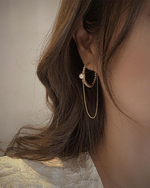 Maronika Ring chain Earrings (6171696070828)